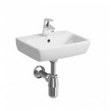 Geberit Abalona Square Wall-Hung Basin with 2 Tap Holes 450mm x 350mm White