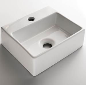 Xavi Wall-Hung/Countertop Basin 1TH Rectangular Small White - Gio