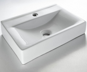 Deana Wall-Hung/Countertop Basin 1TH Rectangular Medium White - Gio