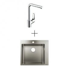 Hansgrohe S711-F450 Drop-In Sink 450 550x500mm SS Incl Decor Kitchen Mixer 280 Swivel Spout Chrome
