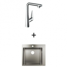 Hansgrohe S711-F450 Build-In Sink 450 550x500mm SS Incl Talis Select S SL Kitchen Mixer 300 CHR