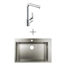 Hansgrohe S711-F660 Drop-In Sink 660 760x500mm SS Incl Decor Kitchen Mixer 280 Swivel Spout Chrome