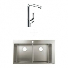 Hansgrohe S711-F765 Drop-In Sink 370/370 865x500mm SS Incl Decor Kitchen Mixer 280 Swivel Spout Chrome
