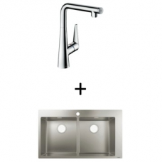 Hansgrohe S711-F765 Built-In Sink 370/370 865x500mm SS Incl Talis Select S SL Kitchen Mixer 300 CHR