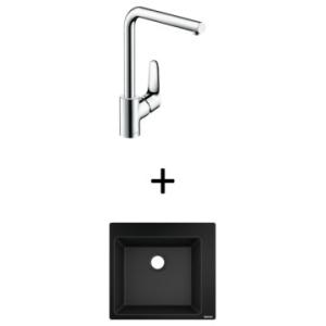 Hansgrohe S510-F450 Built-In Sink 450 560x510mm Graphite Blk Incl Decor SL Kitchen Mixer 280 CHR