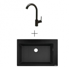 Hansgrohe S510-F660 Drop-In Sink 660 770x510mm Graphite Blk Incl Talis SL Kitchen Mixer 270 Brushed Black