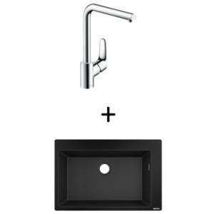 Hansgrohe S510-F660 Built-In Sink 660 770x510mm Graphite Blk Incl Decor SL Kitchen Mixer 280 CHR