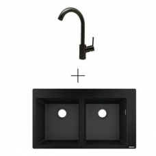 Hansgrohe S510-F770 Drop-In Dbl Sink 880x415mm Graphite Blk Incl Talis SL Kitchen Mixer 270 Brushed Black
