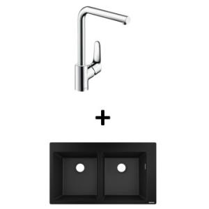 Hansgrohe S510-F770 Built-In Dbl Sink 880x415mm Graphite Blk Incl Decor SL Kitchen Mixer 280 CHR