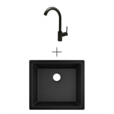Hansgrohe S510-U450 UM Sink 450 500x450mm Graphite Blk Incl Talis SL Kitchen Mixer 270 Brushed Black
