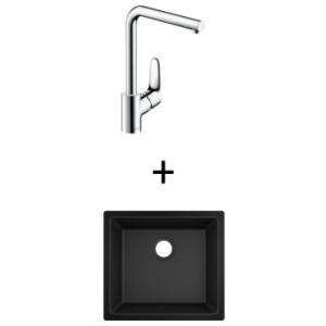 Hansgrohe S510-U450 UM Sink 450 500x450mm Graphite Blk Incl Decor SL Kitchen Mixer 280 CHR