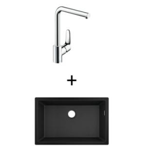 Hansgrohe S510-U660 UM Sink 660 710x450mm Graphite Blk Incl Decor SL Kitchen Mixer 280 CHR