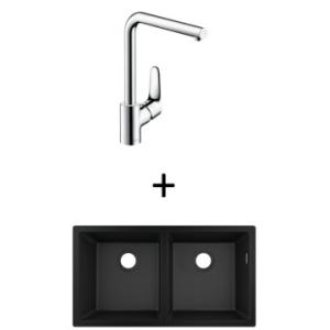 Hansgrohe S510-U770 UM Sink 370/370 820x450mm Graphite Blk Incl Decor SL Kitchen Mixer 280 CHR