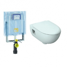 Smyle Rimfree Wall Hung Pan with Soft Closing Seat White including Alpha Concealed Cistern