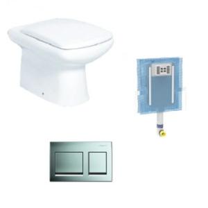 Floor Mount Pan Combo Includes Geberit Alpha Cistern & Alpha Actuator 15 Chrome
