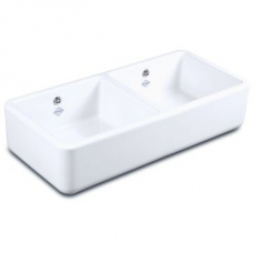 Classic Compact Double Bowl Sink with Central Dividing Wall 795x465x229mm white - Shaws