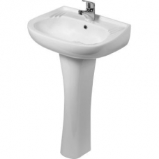 Hibiscus Wall-Hung Basin w/ Classic Pedestal White